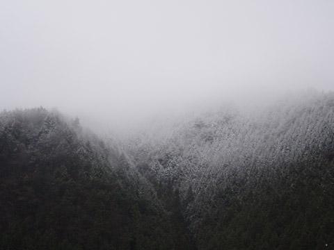 裾野へ広がる白いカーテン